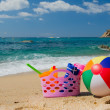 Beach bag and ball — Stock Photo