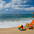 Empty beach chair — Stock Photo