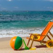 Stock Photo: Empty beach chair