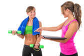 Training by female personal trainer — Stock Photo