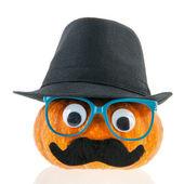 смешные тыквы с лицом и шляпа — Стоковое фото