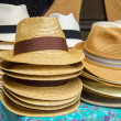 Straw summer hats — Stock Photo