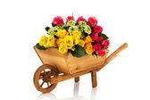 Wheel barrow flowers — Stock Photo