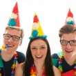 Stock Photo: Adult male twins birthday with girl