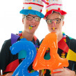 Stock Photo: Adult male twins birthday
