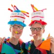 Adult male twins birthday — Stock Photo
