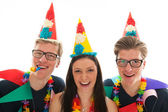 Adult male twins birthday with girl — Stock Photo