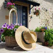 French house with flowers in garden — Stock Photo