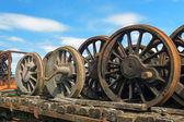 Wheels from steam locomotive — ストック写真