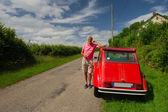Owner with French car — Stock Photo