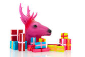 Pink Christmas with many presents — Stok fotoğraf