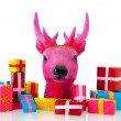 Pink Christmas with many presents — Stock Photo