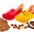 Carrots in Dutch clogs for Sinterklaas — Stock Photo