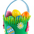 Basket easter eggs — Stock Photo