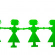 Row of green paper dolls — Stock Photo