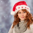 Winter woman with hat Santa Claus — Stock Photo