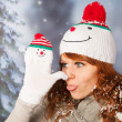 Winter woman with snowman hat — Stock Photo