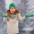 Winter woman with hat of Christmas tree and fun in the snow — Stock Photo