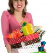 Stock Photo: Spoiled girl with many presents