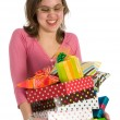Stock Photo: Spoiled girl with presents