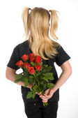 Red roses as present — Stock Photo