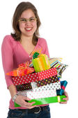 Spoiled girl with many presents — Stock Photo