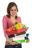 Spoiled girl with presents — Stock Photo