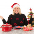 Stock Photo: Womof mature age happy alone with Christmas