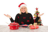 Woman of mature age happy alone with Christmas — Stock Photo