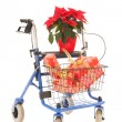 Blue walker with Christmas gifts and Poinsettia — Stock Photo