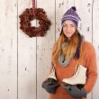 Stock Photo: Womin winter with ice skates