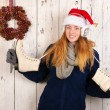 Christmas womin winter with ice skates — Stok Fotoğraf #37289651