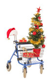 Blue walker with Christmas tree and gifts — Stock Photo