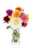 Bouquet Dahlias in glass vase — Stockfoto