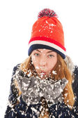 Woman in the snow — Stock Photo