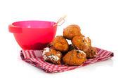 Baking Dutch traditional oliebollen — Stock Photo