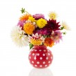 Bouquet Dahlias in red vase — Stock Photo #38218889