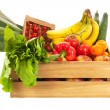 Wooden crate fresh vegetables and fruit — Foto Stock