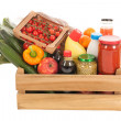 Wooden crate dairy groceries — Foto Stock