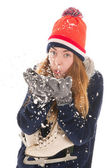 Attractive woman with ice skates — Stockfoto