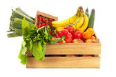 Wooden crate fresh vegetables and fruit — Stock Photo
