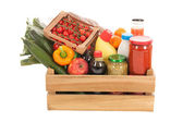 Wooden crate dairy groceries — Stock Photo