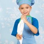 Little boy baking cupcakes — Stock Photo #39119005