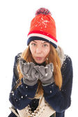 Attractive woman with ice skates — Stock Photo