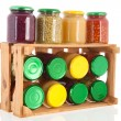 Stock Photo: Wooden crate preserved vegetables