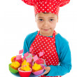 Studio portrait boy as little cook — Stock Photo #40252087