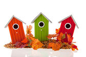 Bird houses with seed and leaves — Stock Photo