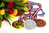 Gold, silver and bronze for the Dutch — Stock Photo