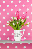 Easter bouquet on pink background — Stock Photo