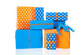 Gifts in blue and orange — Stock Photo